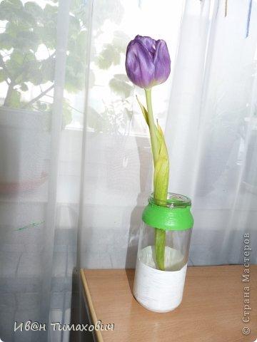 Вы столкнулись с проблемой  большого количества цветов, но у вас нет ваз? Тогда вот мой совет распределите их на маленькие букеты и поставьте в самодельные вазы из банок.  Эта ваза сделана при помощи скотча.Скотч наклеивается посередине, а потом красится. Я бы посоветовал вам именно такую цветовую схему.Белый подходит ко всему(интерьер), а так как  интерьера у нас больше чем цветка делаем белую часть больше.А зелёная часть подчёркивает сам цветок. фото 1