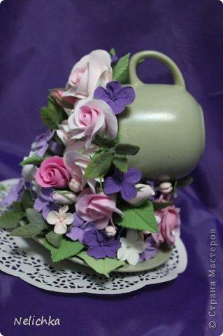 Кофейная чашка с розами из Деко. фото 4