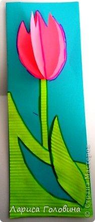 На уроке с четвероклассниками делали открытки с тюльпанами.  фото 2