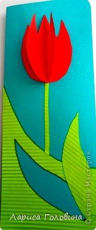 На уроке с четвероклассниками делали открытки с тюльпанами.  фото 4