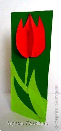 На уроке с четвероклассниками делали открытки с тюльпанами.  фото 5