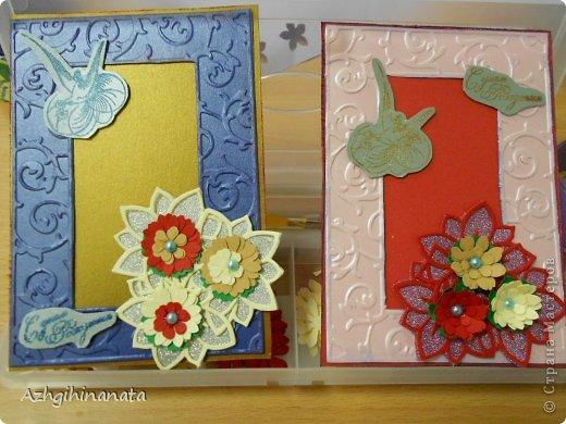 Две открытки с использованием биг-шота (тиснение рамки, подложка для цветов), штампинг с горячим эмбросингом (птица и надпись), дырокольные цветы с мокрым тиснением, бусины, бумага шелковая с металликом. фото 1