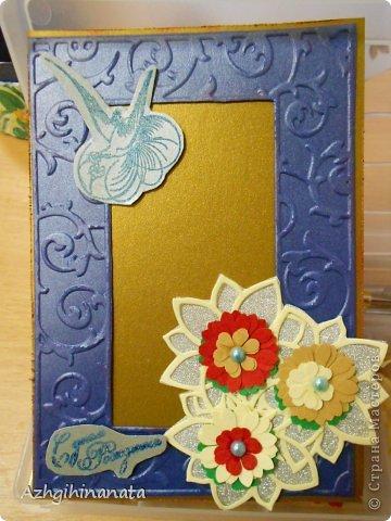 Две открытки с использованием биг-шота (тиснение рамки, подложка для цветов), штампинг с горячим эмбросингом (птица и надпись), дырокольные цветы с мокрым тиснением, бусины, бумага шелковая с металликом. фото 2