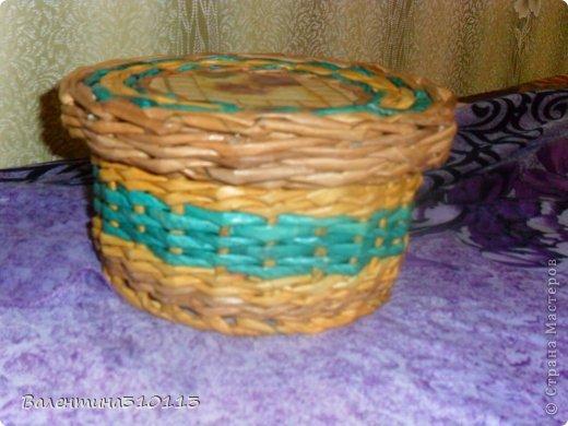 Здравствуйте жители СМ!Осваиваю новые ,для меня,виды плетения.Плела из газетных трубочек,покрашенных водной морилкой-мокко и листвинница.Зелёные трубочки-зелёнкой. фото 5