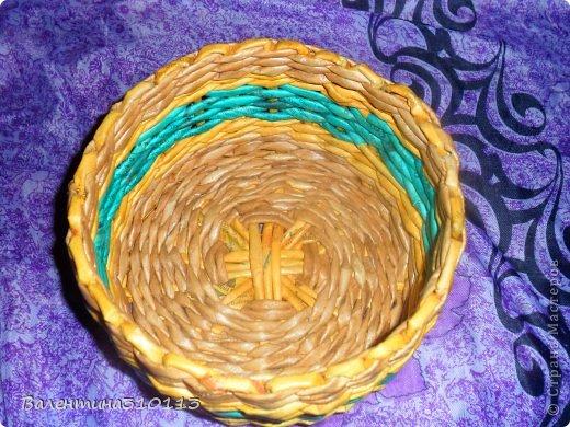 Здравствуйте жители СМ!Осваиваю новые ,для меня,виды плетения.Плела из газетных трубочек,покрашенных водной морилкой-мокко и листвинница.Зелёные трубочки-зелёнкой. фото 6