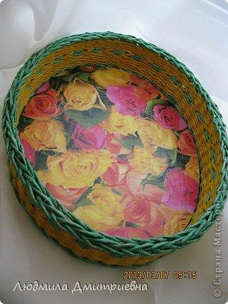 Всем, привет!!!!! Девочек,  с прошедшим праздником!!!!!! Плетенка для невестки, покрашены все плетенки колерами на грунтовке, как всегда. Размер 30х22, высота 7 см. фото 2