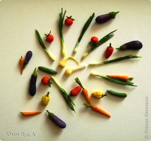 Как говорится: «Готовь сани летом», вот и я покажу вам урожай, сделанный еще прошлой осенью, но может кому-то пригодится и весной. Все овощи из самоварной  массы «холодный фарфор», но вполне могут быть сделаны и из пластики, а может и из соленого теста.  фото 11