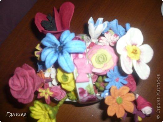 Цветы сделаны из самодельной глины(спасибо СМ! ) - сода+крахмал+вода. фото 2