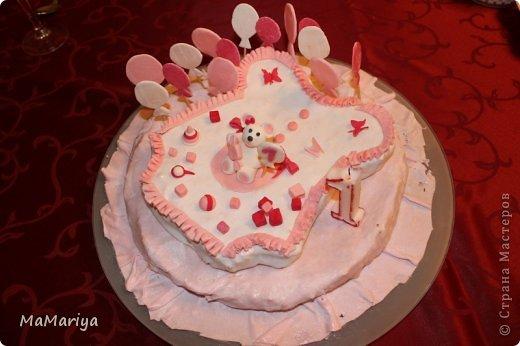 """Вот такой тортик делала на первый День рождения нашей доченьки Вареньки. Торт двухслойный """" Пражский"""": нижний ярус круглый, верхний - сделан в виде бодика-платья с рюшами (очень хотелось, чтобы не только цвет выдавал, что приготовлено для девочки). Сверху украшала мастикой. Шарики стоят на зубочистках. Бабочек вырезала вручную. фото 3"""