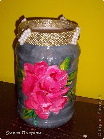 Была простая банка-сыпучка.........а стала красивенькой вазочкой))) фото 1
