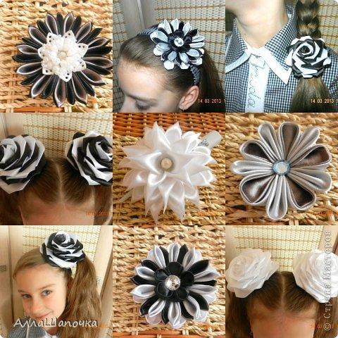 Захотелось мне что-то сделать канзаши в черно-белом цвете ( все-таки мои любимые цвета...) фото 1