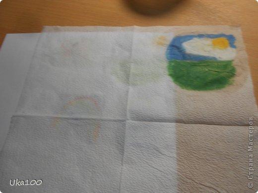 Что бы вы смогли нарисовать на салфетке аккуратный рисунок, нам понадобиться:Вода, тонкая кисточка, пастель, бумага,салфетка(и может быть карандаш, если Вы будите рисовать им) фото 8
