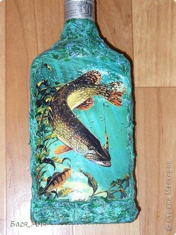 """Здравствуйте, девочки!  Сделалась у меня вот такая бутылочка, для рыбака. Бутылочка полная"""" воды"""" .  Использовала фото, из инета. фото 1"""