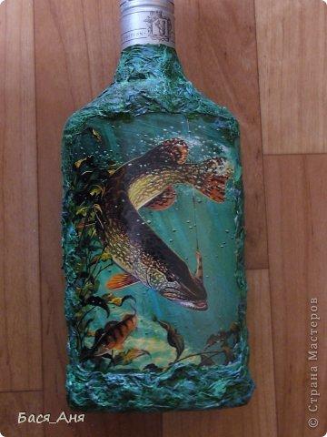 """Здравствуйте, девочки!  Сделалась у меня вот такая бутылочка, для рыбака. Бутылочка полная"""" воды"""" .  Использовала фото, из инета. фото 7"""