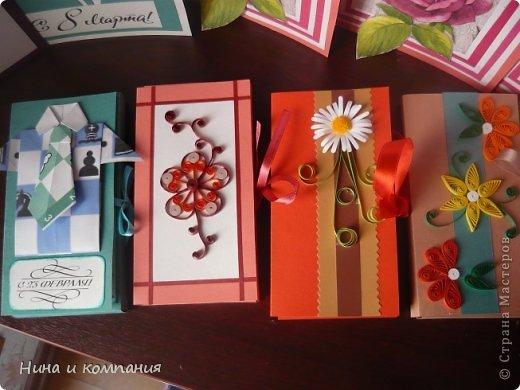Такие открытки и шоколадница мои дети делали в подарок на 8 марта, а я им немного помогала. фото 9