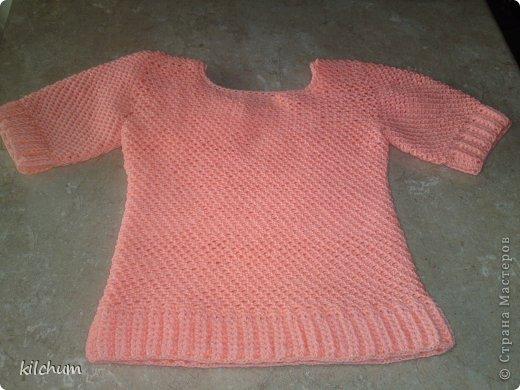 "Легкий свитер для девочки. Ушло 3 мотка ниток ""Пехорка"", крючок на 2.  фото 3"