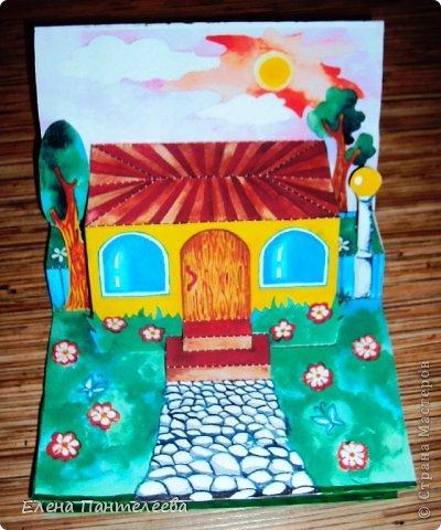С ностальгии по детским книжкам, придумала объемные конструкции для летнего фотоальбомчика. Раскрашенные заготовки отсканировала и распечатала и получилось это... фото 6