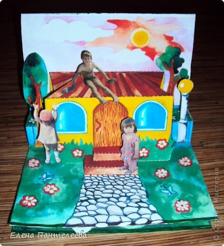 С ностальгии по детским книжкам, придумала объемные конструкции для летнего фотоальбомчика. Раскрашенные заготовки отсканировала и распечатала и получилось это... фото 7