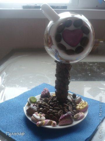 Так делаю это я.  Установила каркас из проволки,укрепленной на эпоксидный клей,дно выложила зернами кофе. фото 5