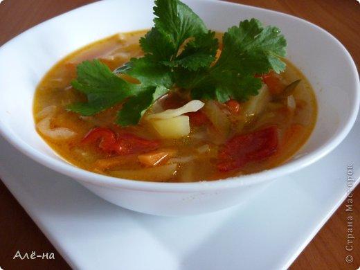 """Очень заинтересовал меня процесс приготовления этого простого и вкусного супа. И еще удивило использование свежего огурца.  """"..Технологию приготовления, по которой сварен этот суп , использовали в старину при готовке в русских печках в горшках. Овощи сначала там томились в собственном соку, а потом уж их заливали кипятком.  добавляли все специи и зелень. ."""" Можно сварить его как чисто овощной ,ну а если хочется посытнее ,то можно добавить тефтели или курицу. В любом случае будет очень ярким и вкусным."""