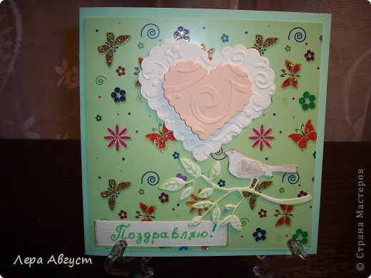 """Эту открытку сделала однокласснице на 8 марта. Формат 14х14 см, подложка - бумага для скрапбукинга. Надпись  -штамп, цветы из офисной бумаги с пайетками в серединке. Сделаны по МК блога """"The Born Doodler"""" от Michae. фото 3"""