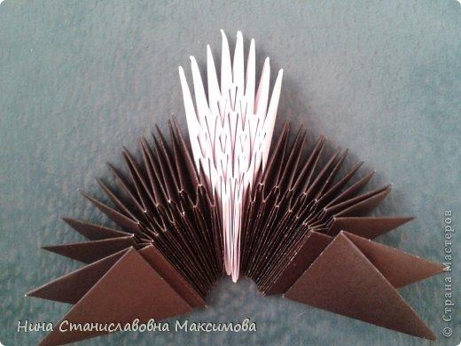 Аист и младенец собраны из треугольных модулей (смотри МК Татьяны Просняковой http://stranamasterov.ru/technic/origami_module). Для туловища, хвоста, крыльев, головы и клюва использовались модули, сложенные из 1/4 листа А4: белых - 93 шт., черных - 46 шт.,оранжевых - 1 шт.. Возьмите лист сложите по вертикали - разверните, потом по горизонтали - разверните. Линии сгиба разделят лист на равные 4 части. Разрежьте и складывайте модули. фото 4