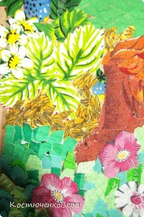 """Работы девочек 9 класса. Почему-то многие девочки не хотят заниматься шитьём на уроках технологии. Я предложила им сделать аппликацию из кусочков ткани, такое предложение было одобрено и мы приступили к работе. Работа трудоёмкая заняла у нас всю третью четверть. И вот результат. Тему взяли """"Наш край"""", """"Родная природа"""" Автор: Брютова Марина фото 4"""