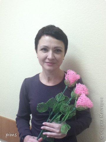 Кружевные розы из бисера фото 2