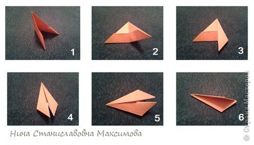 Аист и младенец собраны из треугольных модулей (смотри МК Татьяны Просняковой http://stranamasterov.ru/technic/origami_module). Для туловища, хвоста, крыльев, головы и клюва использовались модули, сложенные из 1/4 листа А4: белых - 93 шт., черных - 46 шт.,оранжевых - 1 шт.. Возьмите лист сложите по вертикали - разверните, потом по горизонтали - разверните. Линии сгиба разделят лист на равные 4 части. Разрежьте и складывайте модули. фото 18