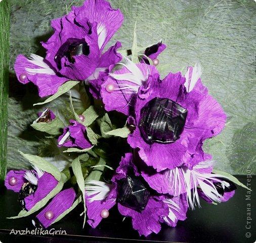 На день рождения брата решила сделать строгие цветы Ирисы в фиолетовой гамме. фото 4