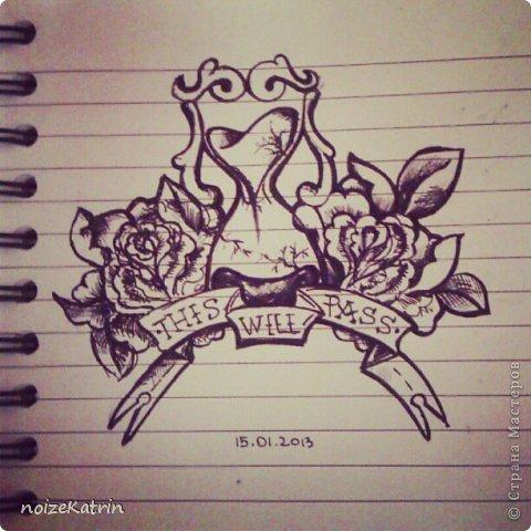 """Эскиз для татуировки с подписью """"This will pass"""", что в переводе с английского означает: """"Это пройдет"""".  Материалы: Обычный лист из блокнота и капиллярная ручка, линер фото 1"""