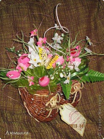 """Всем привет! Я к вам сегодня со своими поделками к 8 марта. Сфотографировала, к сожалению, не всё. Прошу прощения, фото оставляют желать лучшего, всё """"на ходу"""". Может для кого то в моих композициях """"слишком много всего"""", но это то, что я чувствую, это моё настроение. Итак... Знакомьтесь : """"Вишнёвый сад"""". Из - за цвета и вишни в шоколаде. фото 8"""
