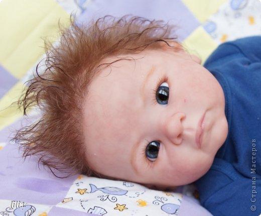 Малыш реборн Левушка, расписан мною в начале февраля. Волосы мохер, очень яркий малыш -  рыжик, имя ему кажется очень идет. Волосы довольно густые.   фото 6
