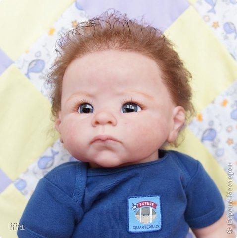 Малыш реборн Левушка, расписан мною в начале февраля. Волосы мохер, очень яркий малыш -  рыжик, имя ему кажется очень идет. Волосы довольно густые.   фото 7