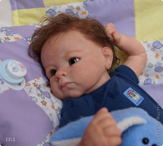 Малыш реборн Левушка, расписан мною в начале февраля. Волосы мохер, очень яркий малыш -  рыжик, имя ему кажется очень идет. Волосы довольно густые.   фото 9
