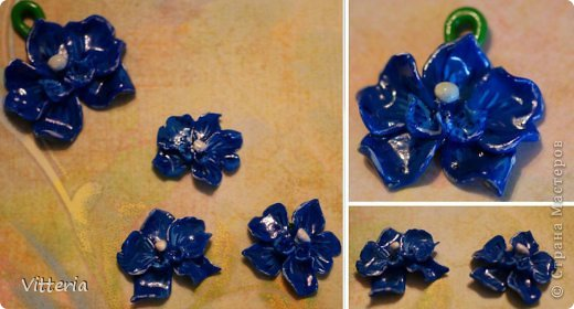 Красно-оранжевые орхидеи, слепленные из полимерной глины, расписанные акриловыми красками и покрытые лаком. Заготовки для сережек и кулона, надо только сережки прикрепить к швензам и можно использовать) Не очень большие, кулон приблизительно 2*2,5 см, сережки - 1,5*2см, очень легенькие) Самое то для летних прогулок) фото 2