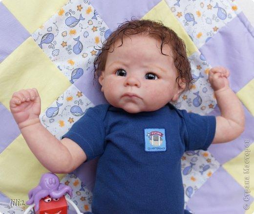 Малыш реборн Левушка, расписан мною в начале февраля. Волосы мохер, очень яркий малыш -  рыжик, имя ему кажется очень идет. Волосы довольно густые.   фото 2