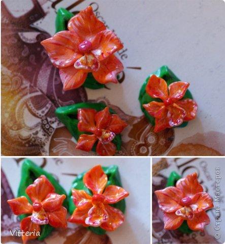 Красно-оранжевые орхидеи, слепленные из полимерной глины, расписанные акриловыми красками и покрытые лаком. Заготовки для сережек и кулона, надо только сережки прикрепить к швензам и можно использовать) Не очень большие, кулон приблизительно 2*2,5 см, сережки - 1,5*2см, очень легенькие) Самое то для летних прогулок) фото 1