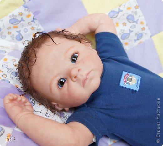 Малыш реборн Левушка, расписан мною в начале февраля. Волосы мохер, очень яркий малыш -  рыжик, имя ему кажется очень идет. Волосы довольно густые.   фото 5