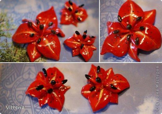 Красно-оранжевые орхидеи, слепленные из полимерной глины, расписанные акриловыми красками и покрытые лаком. Заготовки для сережек и кулона, надо только сережки прикрепить к швензам и можно использовать) Не очень большие, кулон приблизительно 2*2,5 см, сережки - 1,5*2см, очень легенькие) Самое то для летних прогулок) фото 3