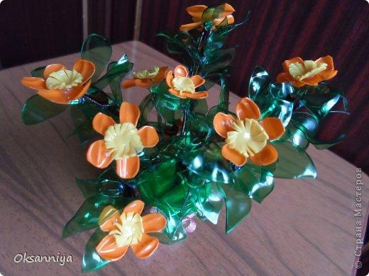 Вот такой получился веселый оранжевый кустик из пластиковых бутылок различного цвета!:))) фото 2