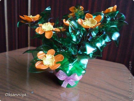 Вот такой получился веселый оранжевый кустик из пластиковых бутылок различного цвета!:))) фото 1