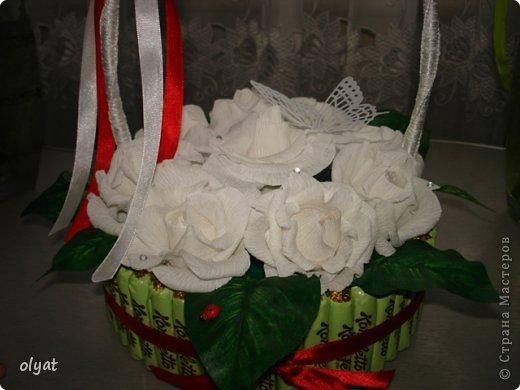 Всем добрый день. Вот решила попробовать себя в свит-дизайне, сделала сладкую корзинку маме на день рождения. Фотографии получились темноватые, на улице пасмурно:( МК корзиночки <p>https://stranamasterov.ru/node/197258?c=favorite</p>, только конфетки у меня на съёмном поясочке. МК розочек <p>https://stranamasterov.ru/node/243631?c=favorite</p>  В розочке конфетки обернула в пищевую пленку, чтобы можно было достать не разбирая цветочек. фото 2