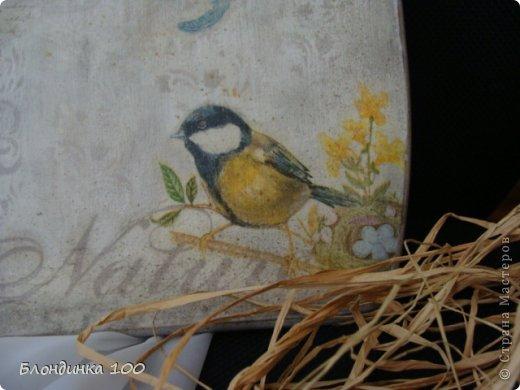 Для декупажа доски использовала, уже примелькавшуюся на сайте, но, на мой взгляд, интересную салфетку с птичками. Спасибо художнику! На этот раз решила обойтись без кракелюра. По фону пустила трафаретный рисунок, сделала тонировку пастелью, набрызг и потертости. фото 4