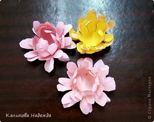 Учились делать объемные самодельные цветы, используя (за неимением дырокольных заготовок)шаблоны. Вот такие хризантемки делали из мокрой бумаги для акварели, предварительно окрасив ее в желаемый цвет. фото 6