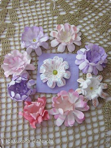 Учились делать объемные самодельные цветы, используя (за неимением дырокольных заготовок)шаблоны. Вот такие хризантемки делали из мокрой бумаги для акварели, предварительно окрасив ее в желаемый цвет. фото 1