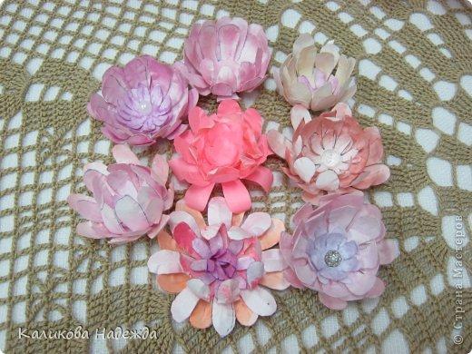 Учились делать объемные самодельные цветы, используя (за неимением дырокольных заготовок)шаблоны. Вот такие хризантемки делали из мокрой бумаги для акварели, предварительно окрасив ее в желаемый цвет. фото 4