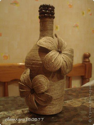 Декорирование бутылок шпагатом своими руками мастер класс фото