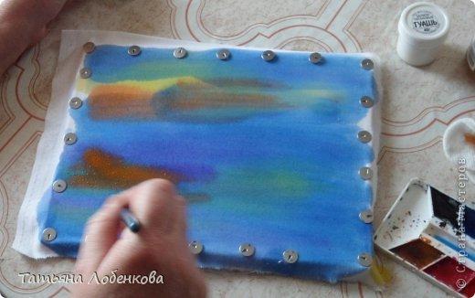 Мне очень нравится вышивать по нарисованному акварелью фону. Раньше я вышивала гладью нитками мулине, а сейчас меня привлекает вышивка ленточками. Вот решила вышить ветки черемухи на фоне акварельного пейзажа. фото 5