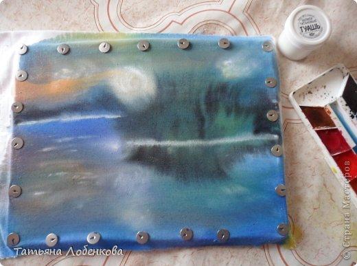 Мне очень нравится вышивать по нарисованному акварелью фону. Раньше я вышивала гладью нитками мулине, а сейчас меня привлекает вышивка ленточками. Вот решила вышить ветки черемухи на фоне акварельного пейзажа. фото 7